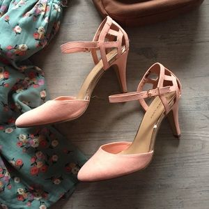 NWOT Pink and Rose Gold Ankle Strap Heels